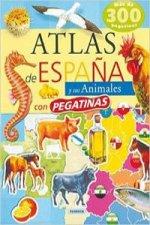 Atlas de España y sus animales con pegatinas