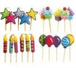 Kształtne świeczki urodzinowe 5 sztuk mix wzorów