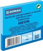 Karteczki samoprzylepne w bloczku 76x76mm 100 kartek neon niebieski