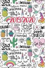 Diář 2019-2020: Jednorožec, kaktus.../školní