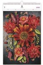 Luxusní dřevěný kalendář 2020 Flowers