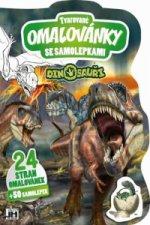 Tvarované omalovánky se samolepkami Dinosauři