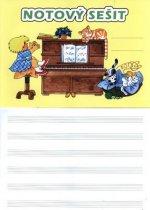 Notový sešit (obrázek: pianino, 32str.)