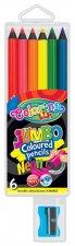 Pastelky neonové JUMBO černé dřevo s ořezávátkem 6 barev