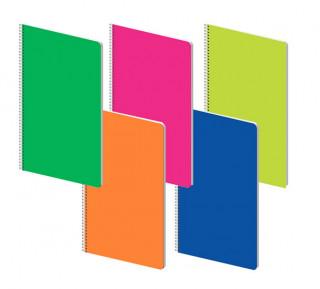 Poznámkový blok - Fluo, A4, 70 g, 70 listů, linka, PP desky, mix 5 motivů