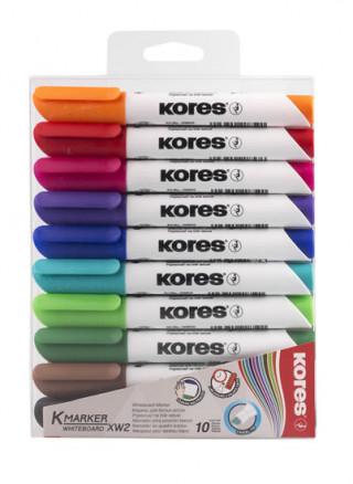 Kores K-MARKER Popisovač na bílé tabule, kulatý hrot 3 mm, mix 10 barev
