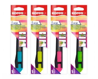 Kores Odlamovací nůž KC 9 mm, mix 4 neonových barev