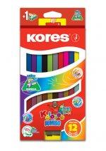 Kores Jumbo DUO trojhranné pastelky 5 mm s ořezávátkem 12 barev + 2 metalické barvy