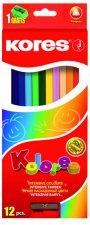 Kores Trojhranné pastelky KOLORES 3 mm  s ořezávátkem 12 barev