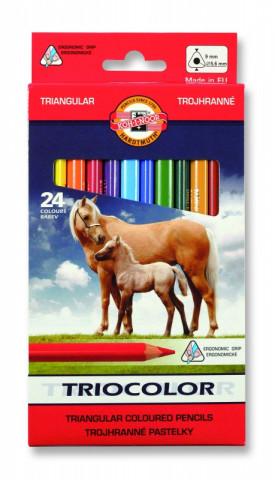 Koh-i-noor pastelky TRIOCOLOR trojhranné souprava 24 ks v papírové krabičce