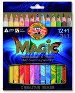 Koh-i-noor souprava trojhraných JUMBO pastelek 12 ks MAGIC