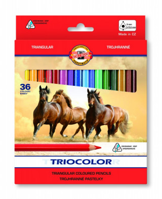 Koh-i-noor pastelky TRICOLOR trohranné 36 ks
