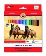 Koh-i-noor pastelky TRIOCOLOR trohranné 36 ks