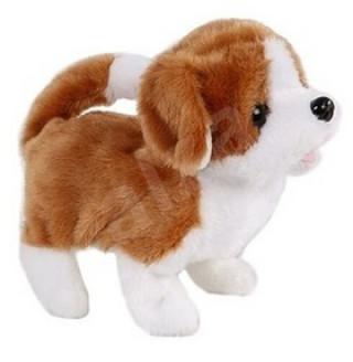 Pes plyšový bílo-hnědý se zvukem, chodící