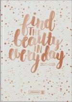 Wochenkalender/Schülerkalender Gold Glitter , A5, 2020/2021, Hardcover-Einband wattiert