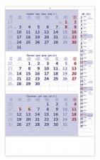 Kalendář 2021 nástěnný: Tříměsíční modrý s poznámkami, 315x450