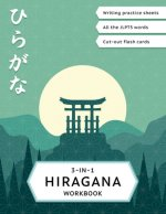 3-in-1 Hiragana Workbook: Learn Japanese for beginners: Hiragana writing practice notebook, JLPT5 words learning and Hiragana flash cards