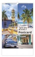 Kalendář 2021 nástěnný: Postcard from...., 315x450