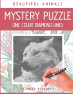 Beautiful Animals Mystery Puzzle One Color Diamond Lines: One Color Adult Coloring Book For Relaxation and Stress Relief