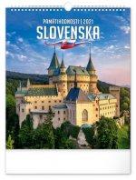 Kalendář 2021 nástěnný: Pamätihodnosti Slovenska (slovenská verze), 30 × 34 cm