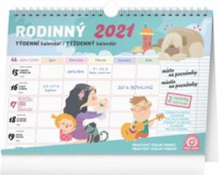 Kalendář 2021 Rodinný týdenní plánovací s háčkem, 30 × 21 cm