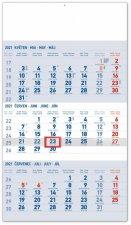 Kalendář 2021 nástěnný: 3měsíční Standard modrý – s českými jmény, 29,5 × 43 cm