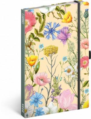 Diář 2021: Květiny - týdenní, 13 × 21 cm