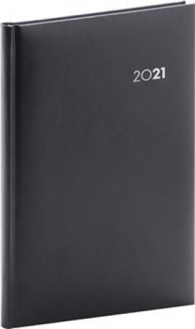Týdenní diář Balacron 2021, černý, 15 × 21 cm