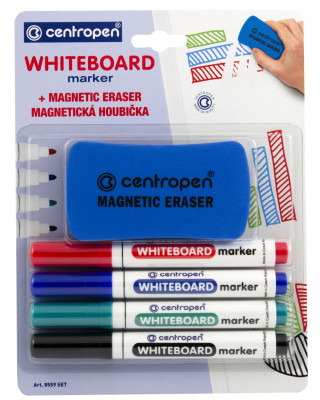 Marker suchościeralny Centropen Whiteboard marker 8559 4 kolory + gąbka magnetyczna