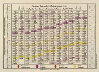 Jednolistý Lunární kalendář Krásné paní 2021