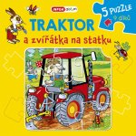 Knížkové puzzle - Traktor a zvířátka na statku