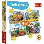 Puzzle: Pracovní stroje 4v1 (12,15,20,24 dílků)