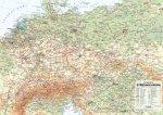 Střední Evropa nástěnná obecně zeměpisná mapa