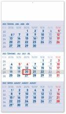 Nástěnný kalendář 3měsíční standard modrý – s českými jmény 2022